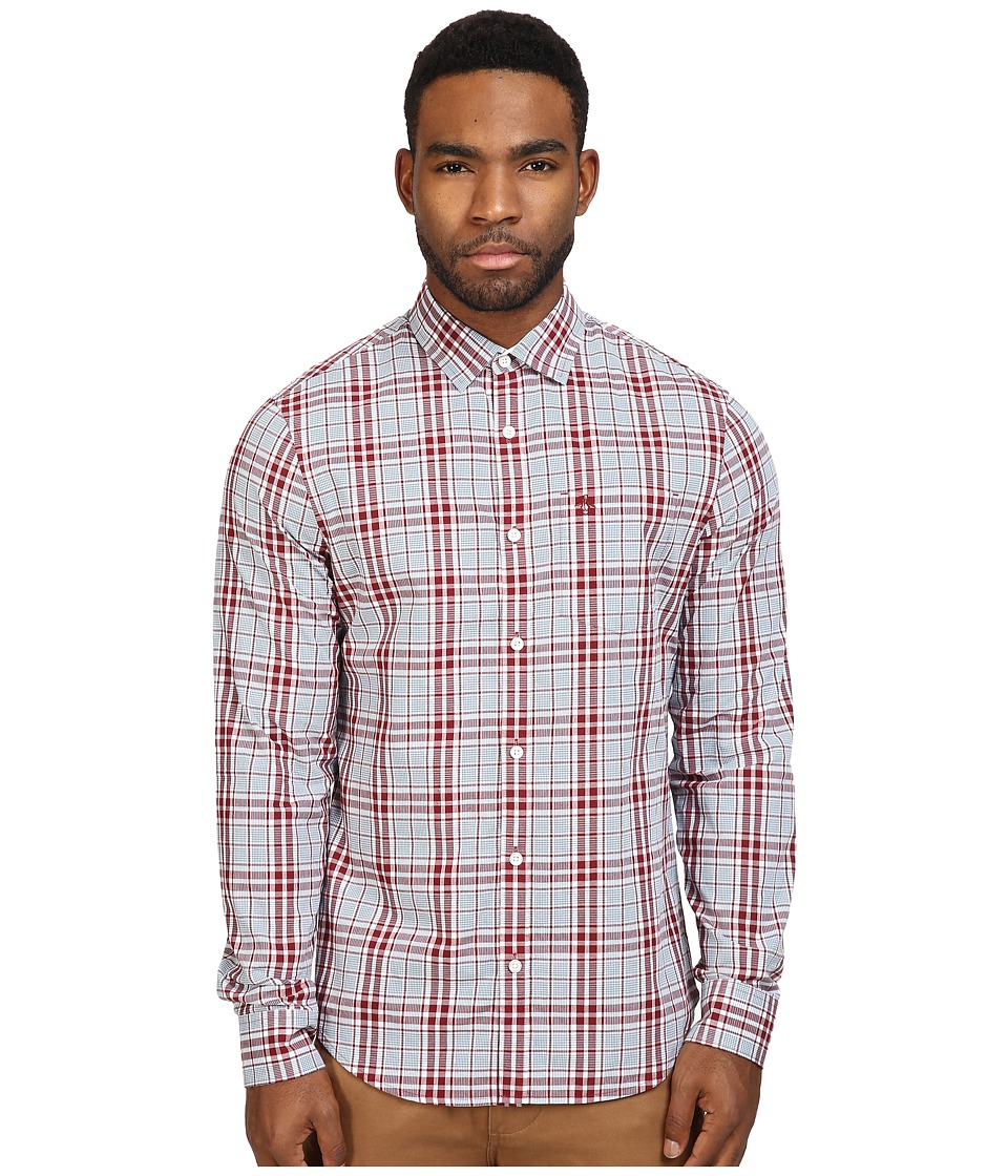 Original Penguin - P55 Plaid (Pomegranate) Men's Long Sleeve Button Up