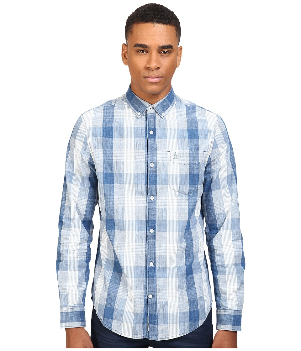 Original Penguin - Chambray Plaid (Aegean Blue) Men's Long Sleeve Button Up