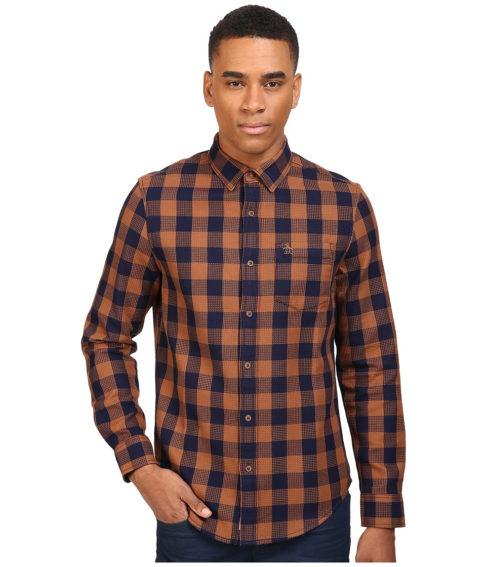 Original Penguin - Waffle Buffalo Check (Dark Sapphire) Men's Long Sleeve Button Up