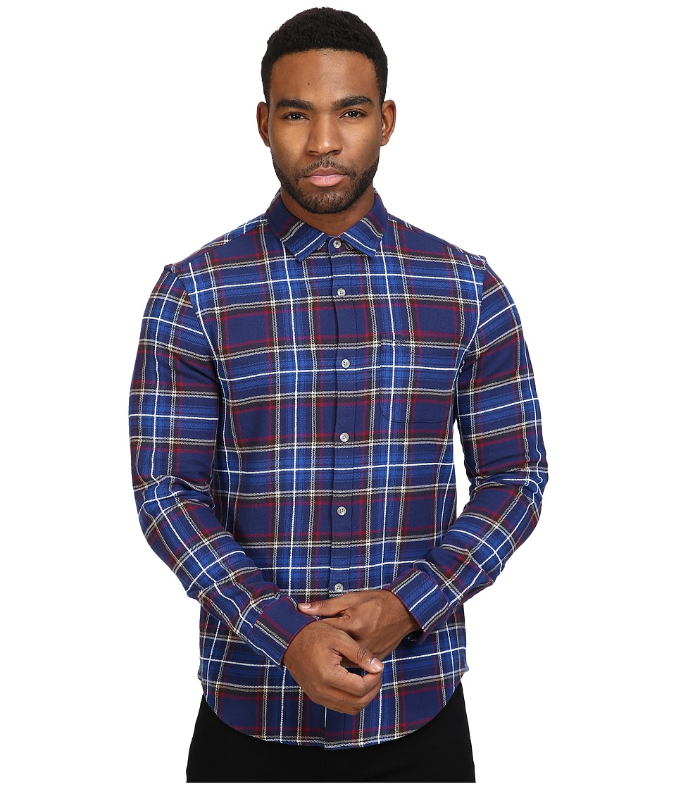 Original Penguin - Brushed Cotton with Chenille Yarn (Medieval Blue) Men's Long Sleeve Button Up