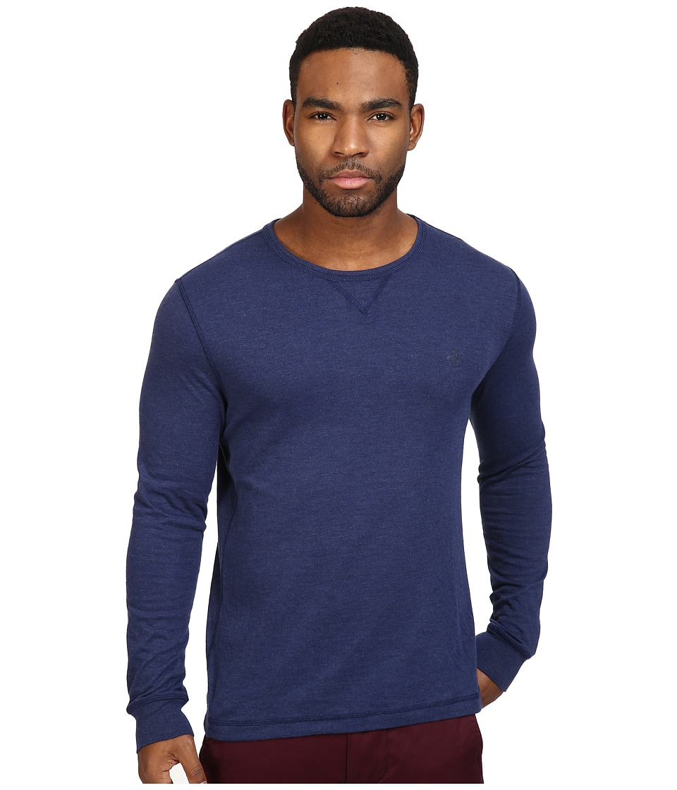 Original Penguin - Long Sleeve Reversible Crew (Medieval Blue) Men's Long Sleeve Pullover