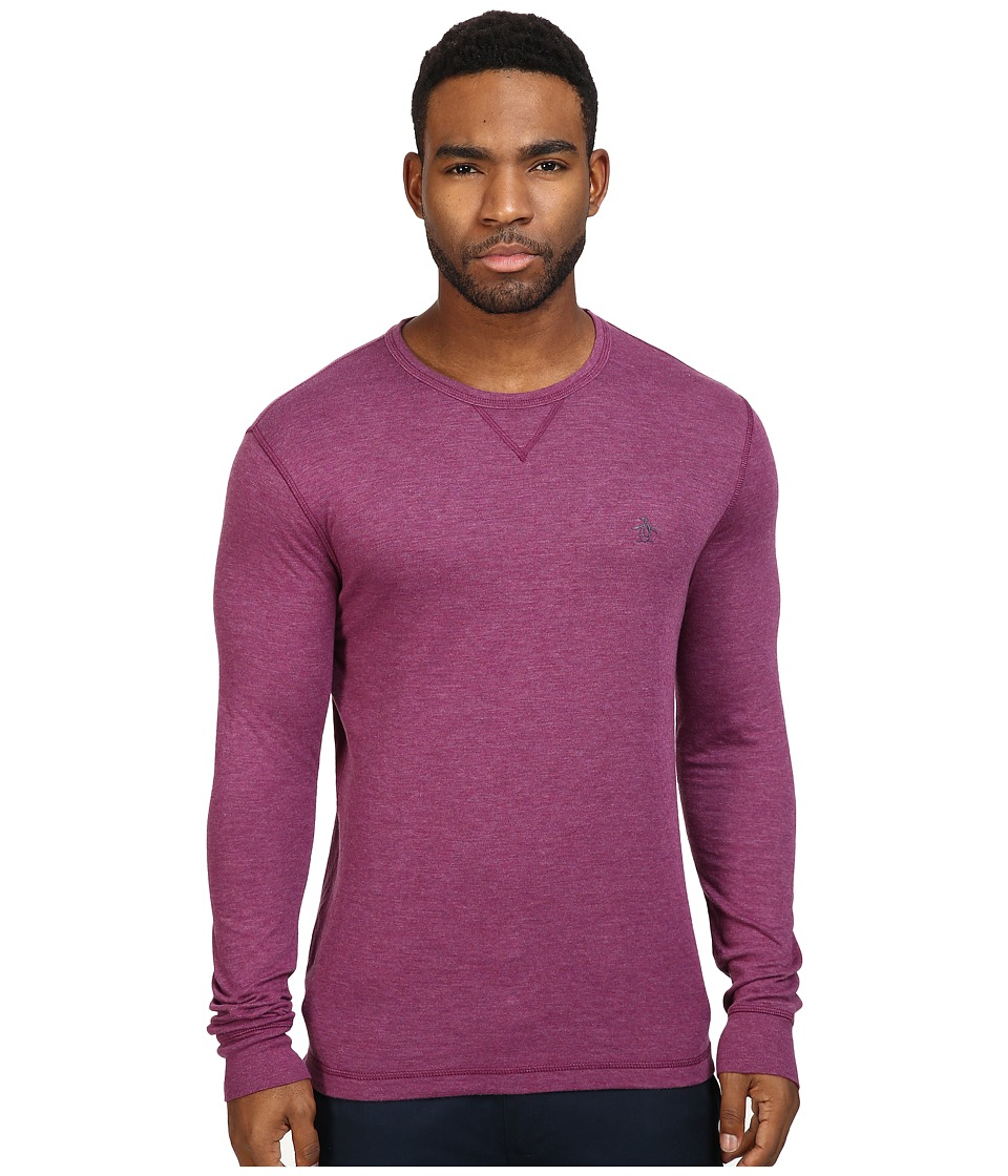 Original Penguin - Long Sleeve Reversible Crew (Amaranth) Men's Long Sleeve Pullover