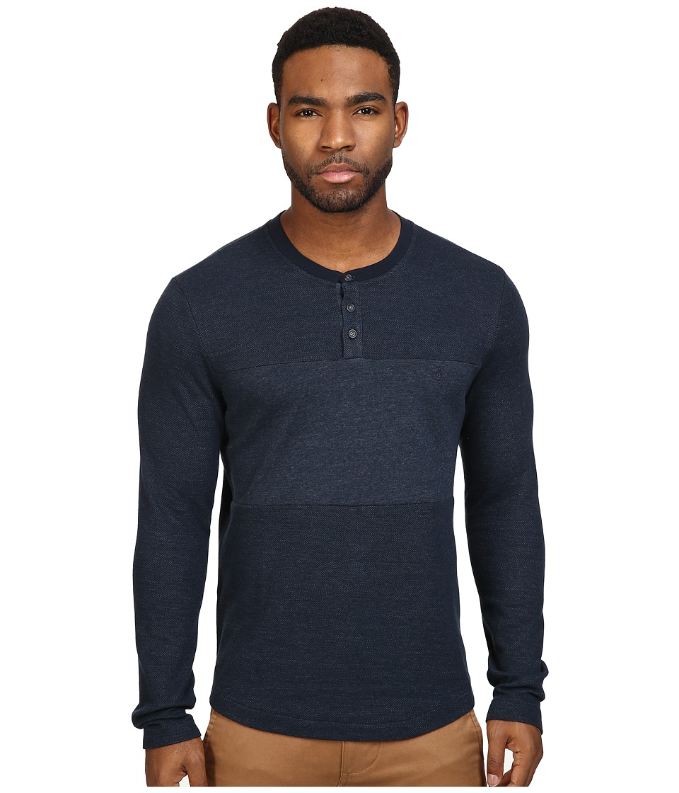 Original Penguin - Reversible Pannel Henley (Dark Sapphire) Men's Long Sleeve Pullover