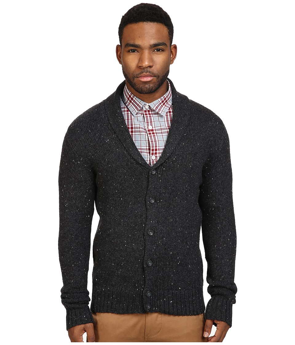Original Penguin - Shawl Collar Donegal Cardigan (Dark Charcoal Heather) Men's Sweater