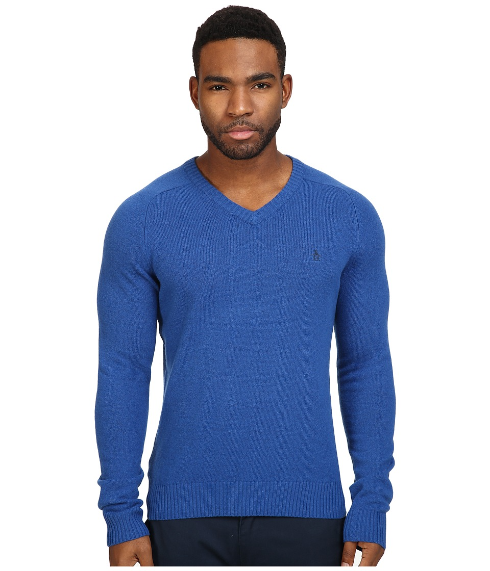 Original Penguin - P55 100% Lambswool V-Neck Sweater (Classic Blue) Men's Sweater
