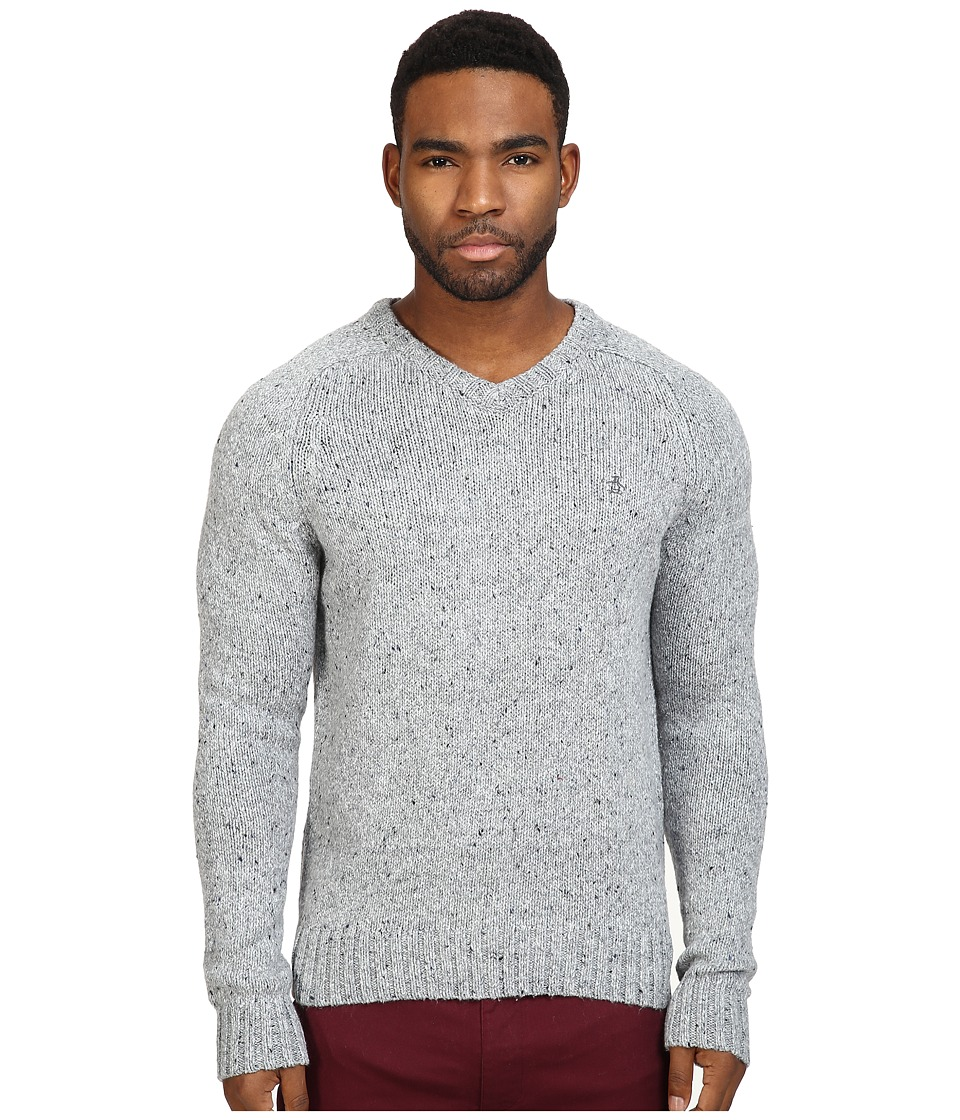 Original Penguin - Saddle Raglan Donegal V-Neck Sweater (Griffin) Men's Sweater
