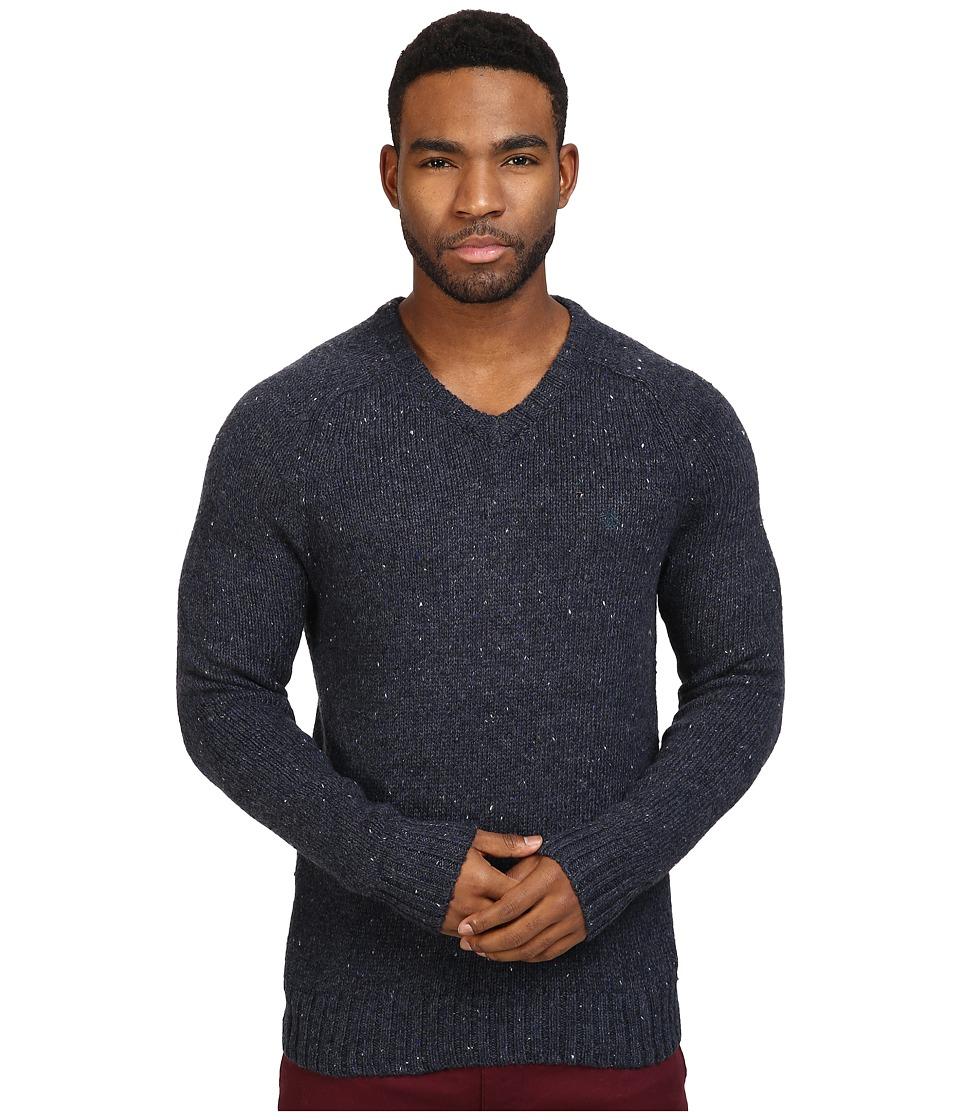Original Penguin - Saddle Raglan Donegal V-Neck Sweater (Dark Sapphire) Men's Sweater