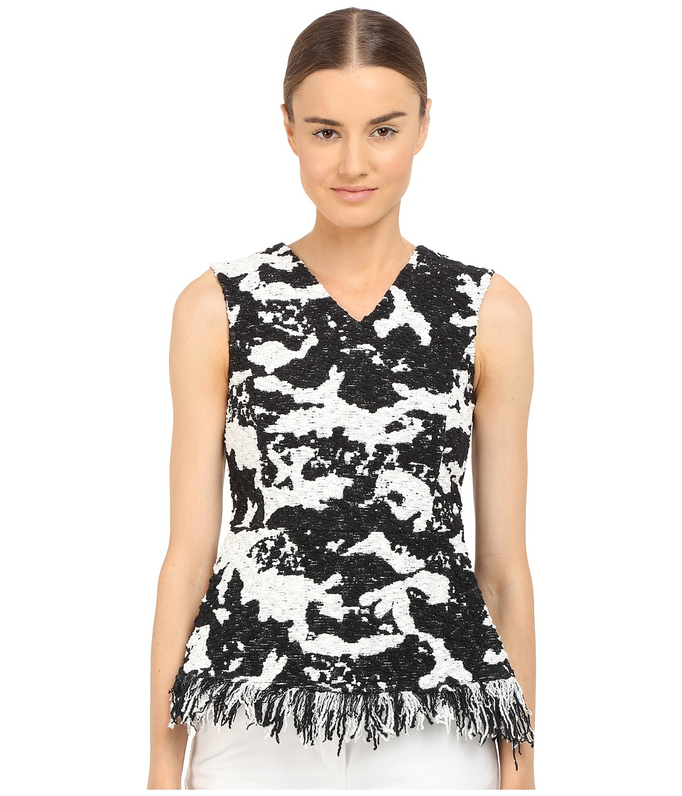 Neil Barrett - Slim Boucle Fringed Top (Black/White) Women's Sleeveless
