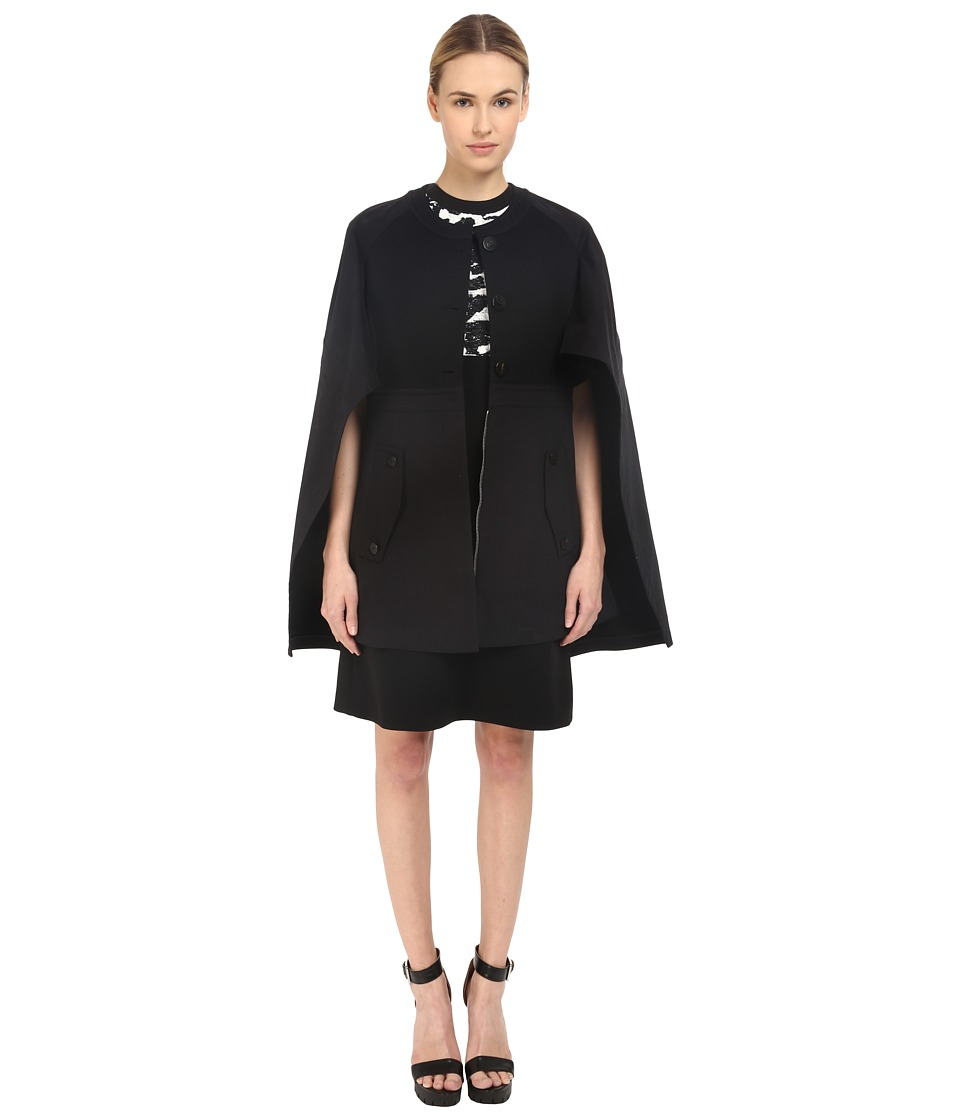 Neil Barrett - Mixed Fabrics Flared Cape (Black) Women's Coat
