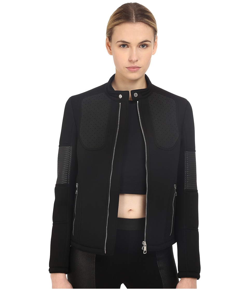 Neil Barrett - Mixed Fabrics Moto Biker (Black) Women's Coat