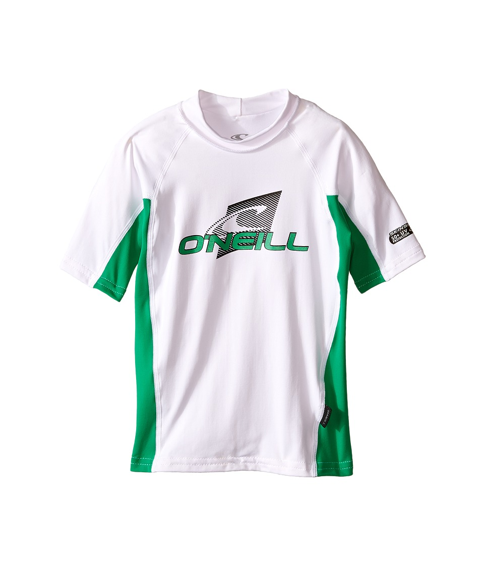 O'Neill Kids - Skins Short Sleeve Crew (Little Kids/Big Kids) (White/Clean Green/White) Boy's Swimwear
