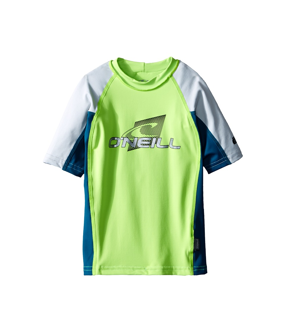O'Neill Kids - Skins Short Sleeve Crew (Little Kids/Big Kids) (Lime/Deep Teal/Lunar) Boy's Swimwear