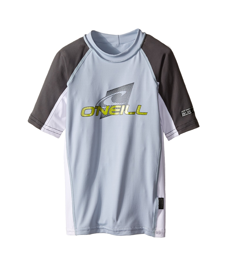 O'Neill Kids - Skins Short Sleeve Crew (Little Kids/Big Kids) (Fog Blue/WhItE/Graphite) Boy's Swimwear