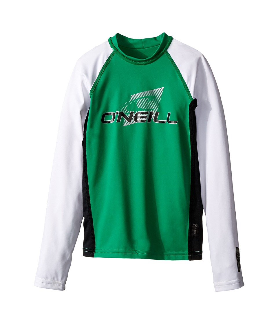 O'Neill Kids - Skins Long Sleeve Crew (Little Kids/Big Kids) (Clean Grean/Black/White) Boy's Swimwear