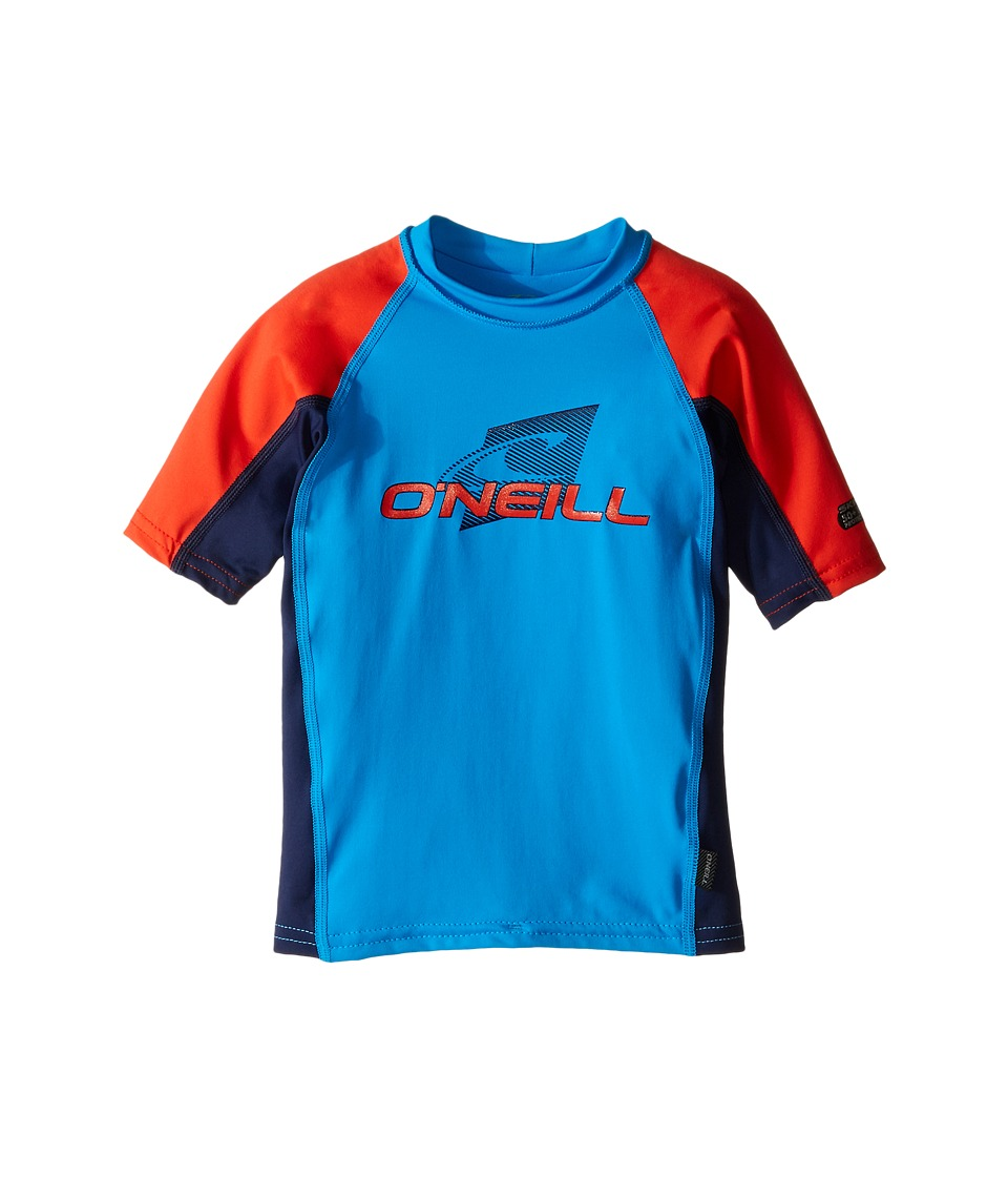 O'Neill Kids - Skins Short Sleeve Crew (Little Kids/Big Kids) (Sky/Navy/Neon Red) Boy's Swimwear