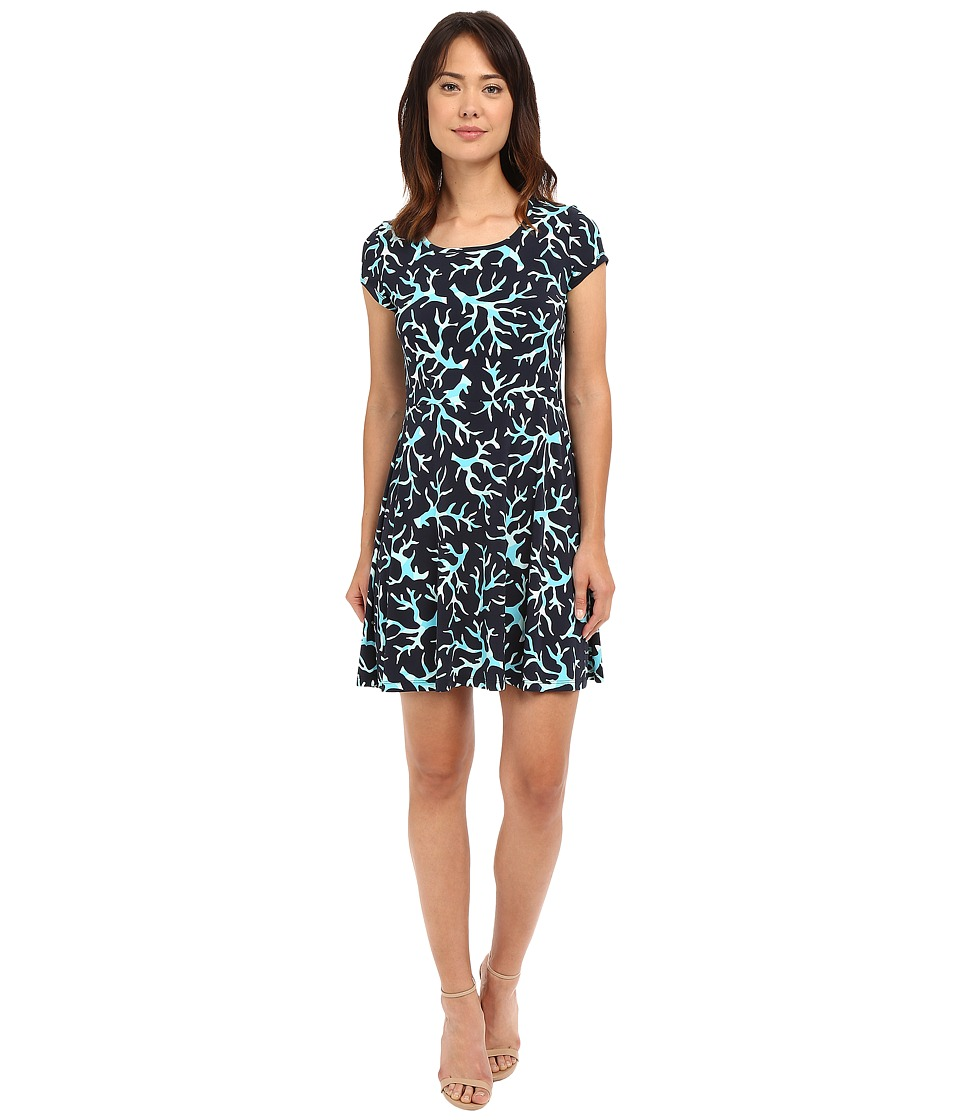 MICHAEL Michael Kors - Nandina Cap Flare Dress (New Navy/Turquoise) Women's Dress