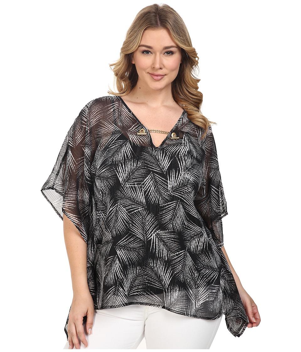 MICHAEL Michael Kors - Plus Size Mangonia Chain Flutter Top (Black) Women's Clothing