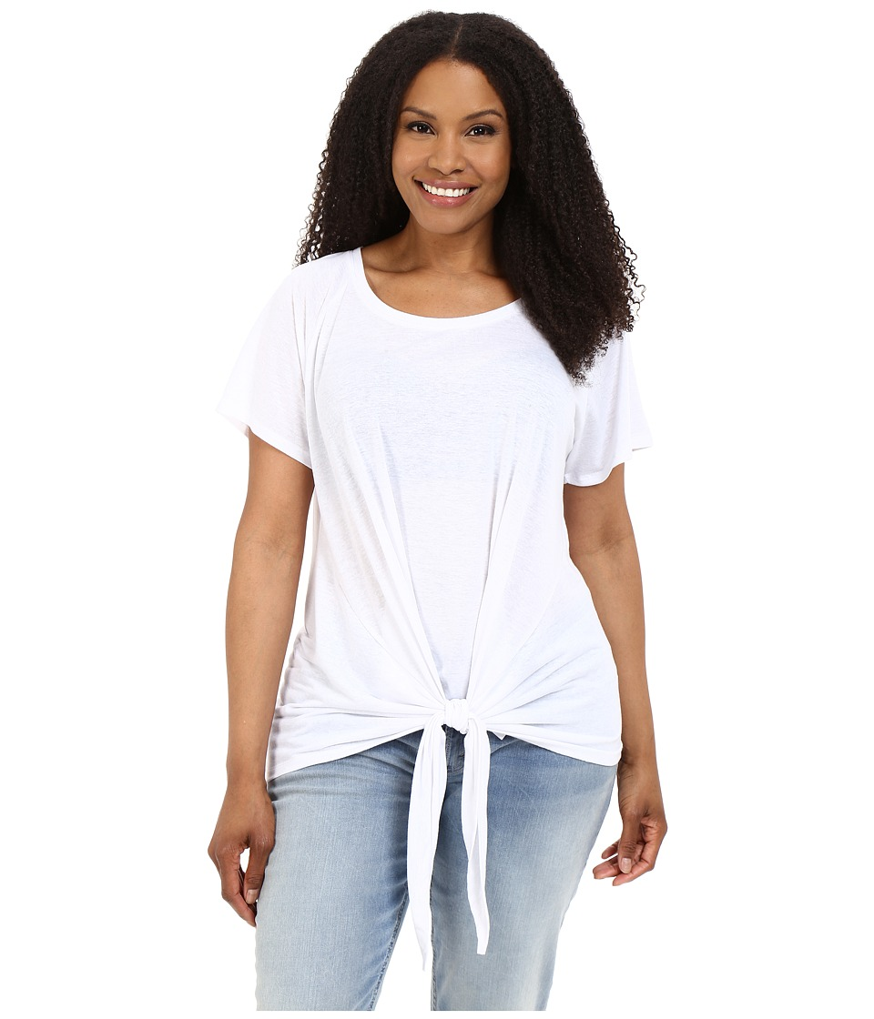MICHAEL Michael Kors - Plus Size Tie Scoop Neck Top (White) Women's Clothing