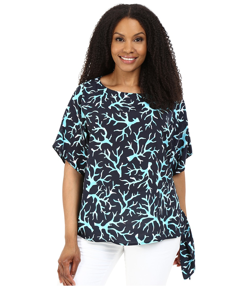 MICHAEL Michael Kors - Plus Size Nandina Tie Top (New Navy/Turquoise) Women's Clothing
