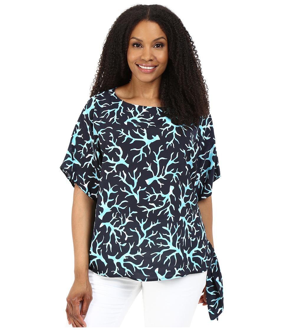 MICHAEL Michael Kors - Plus Size Nandina Tie Top (New Navy/Turquoise) Women's Clothing