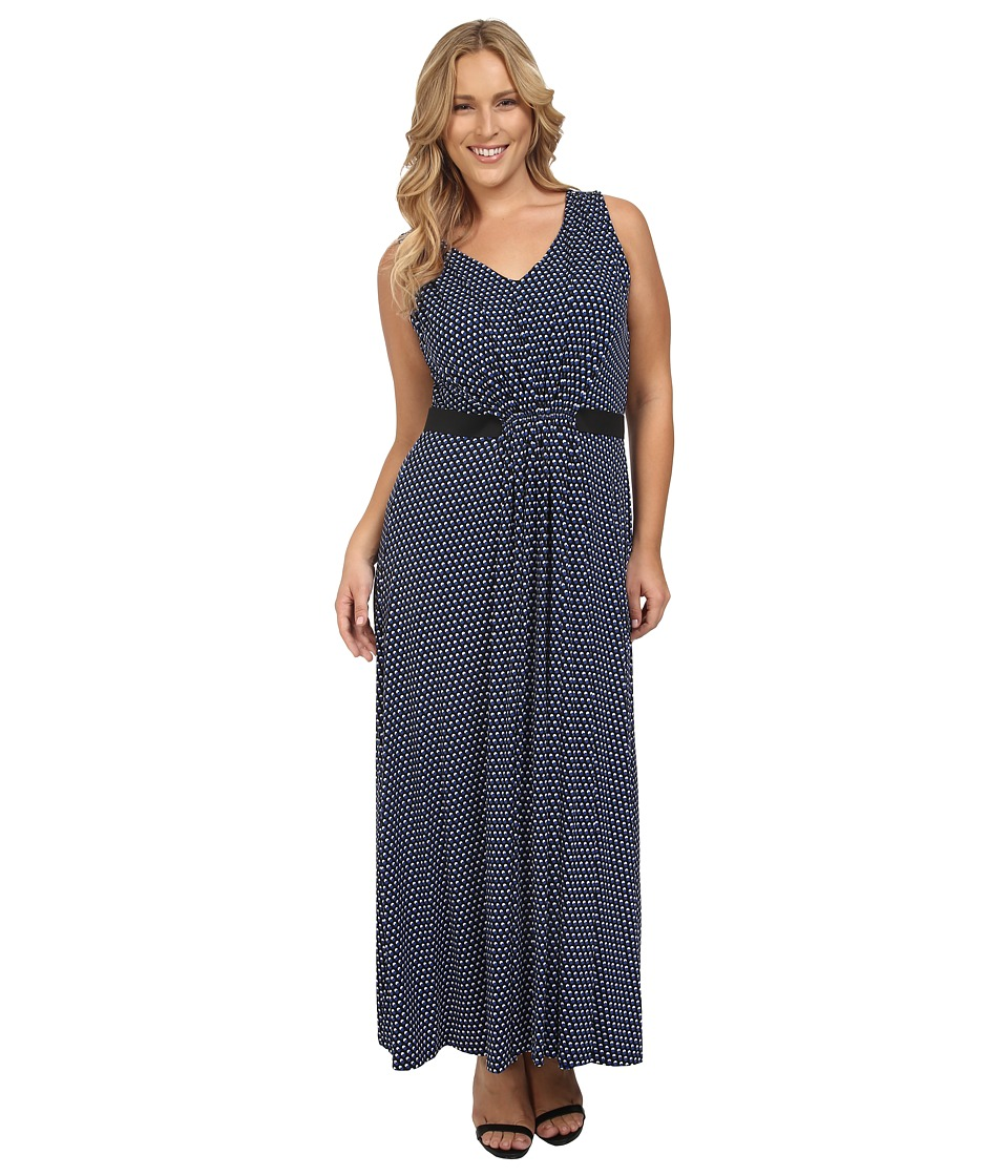 MICHAEL Michael Kors - Plus Size Alston V-Neck Pleat Maxi Dress (Royal) Women's Dress