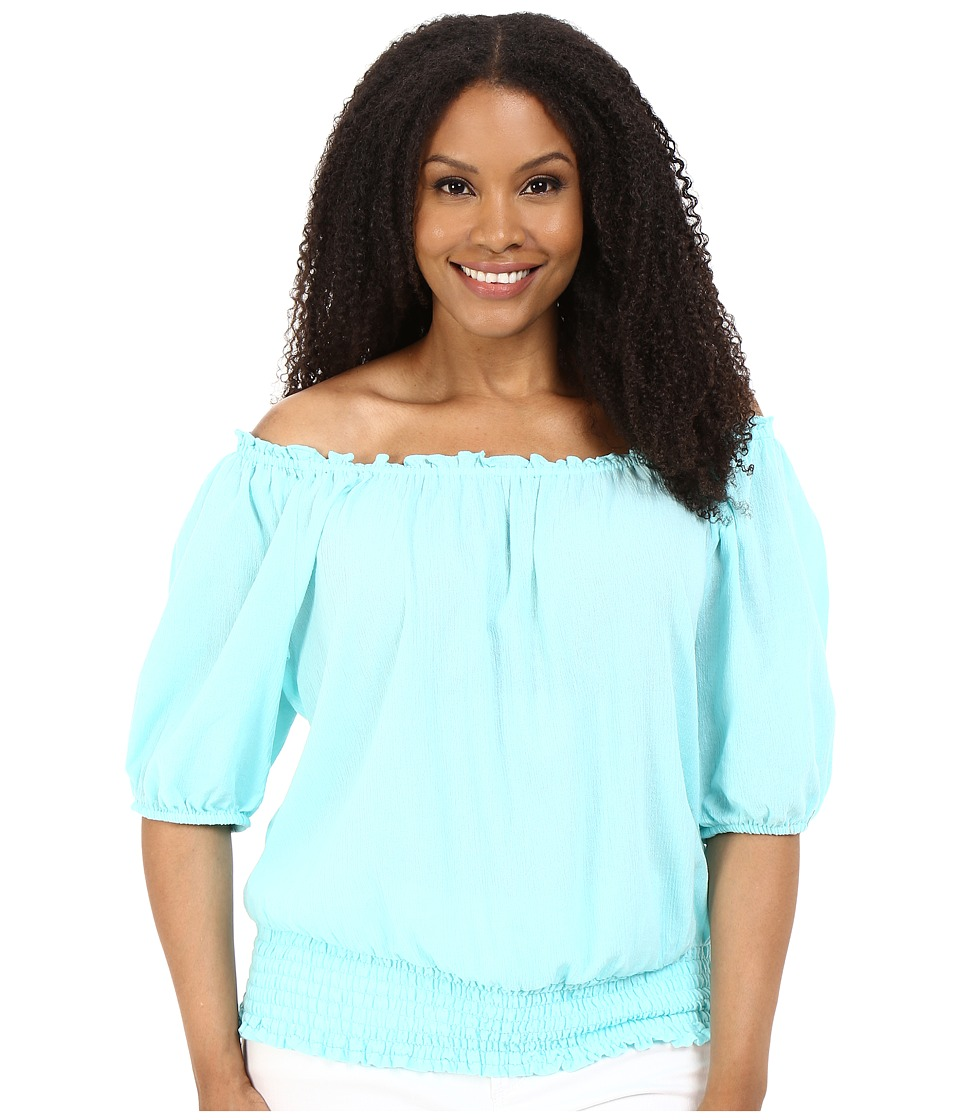 MICHAEL Michael Kors - Plus Size Off Shoulder Top (Washed Turquoise) Women's Clothing