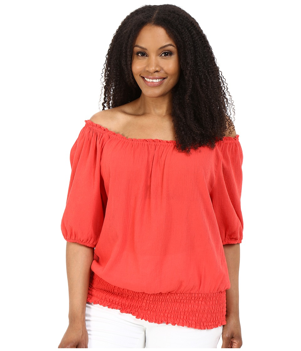 MICHAEL Michael Kors - Plus Size Off Shoulder Top (Coral Reef) Women's Clothing