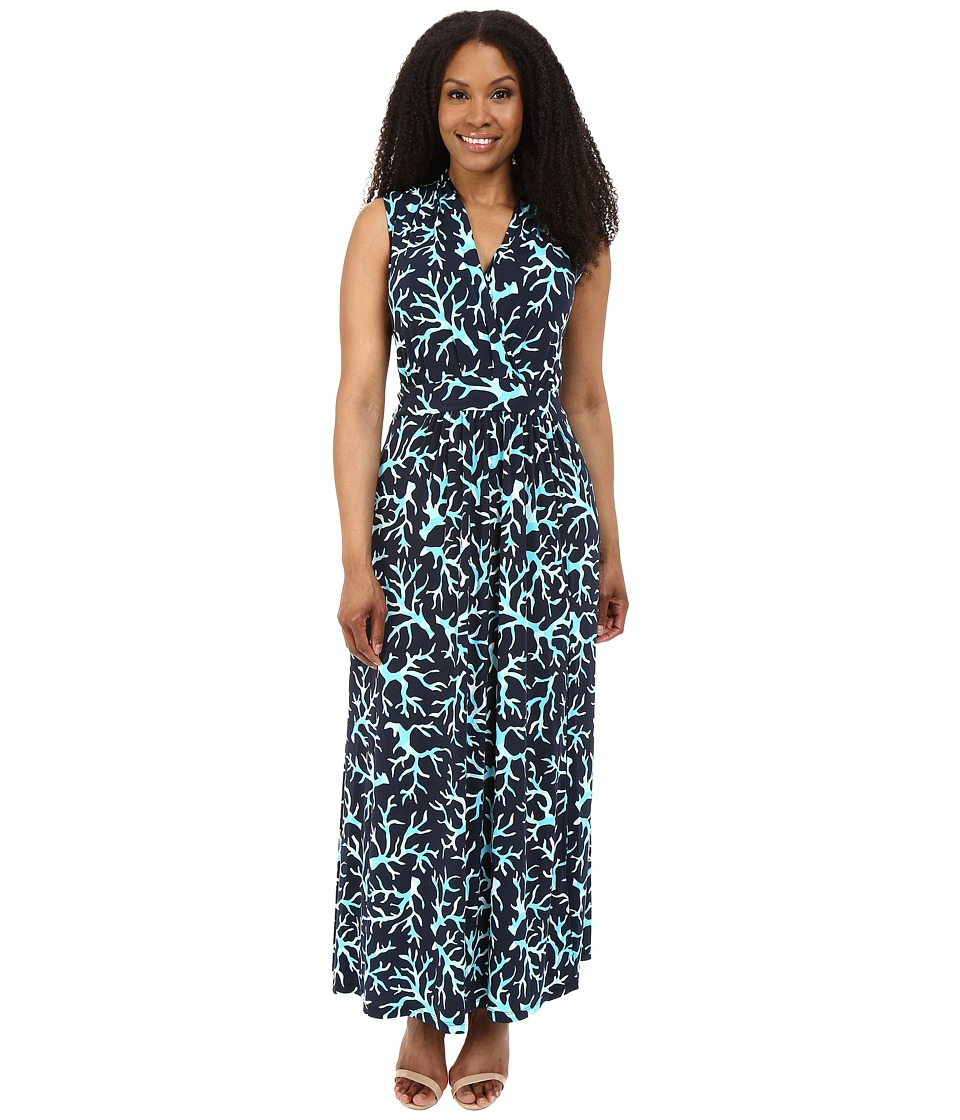 MICHAEL Michael Kors - Plus Size Nandina Slit Maxi Dress (New Navy/Turquoise) Women's Dress