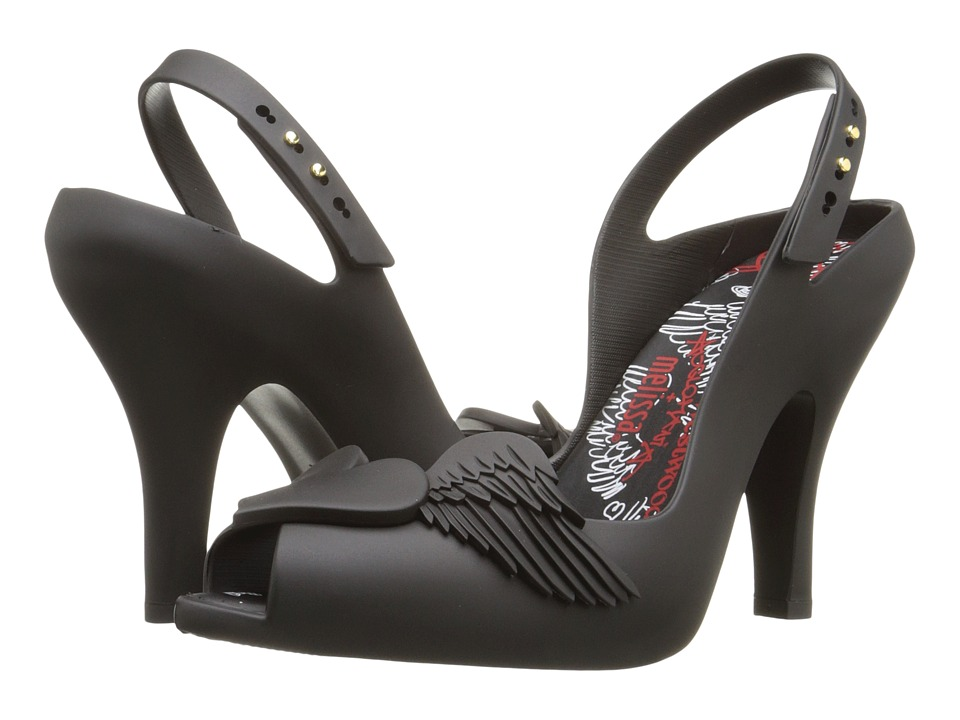 Vivienne Westwood - Anglomania + Melissa Lady Dragon (Black/Flocked) Women's Shoes