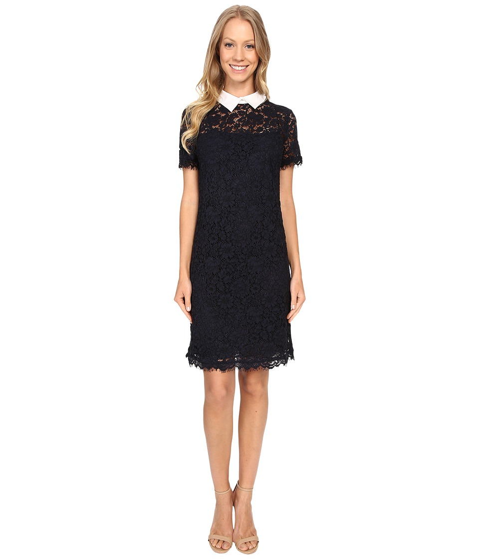 MICHAEL Michael Kors - Collar Lace T-Shirt Dress (New Navy) Women's Dress