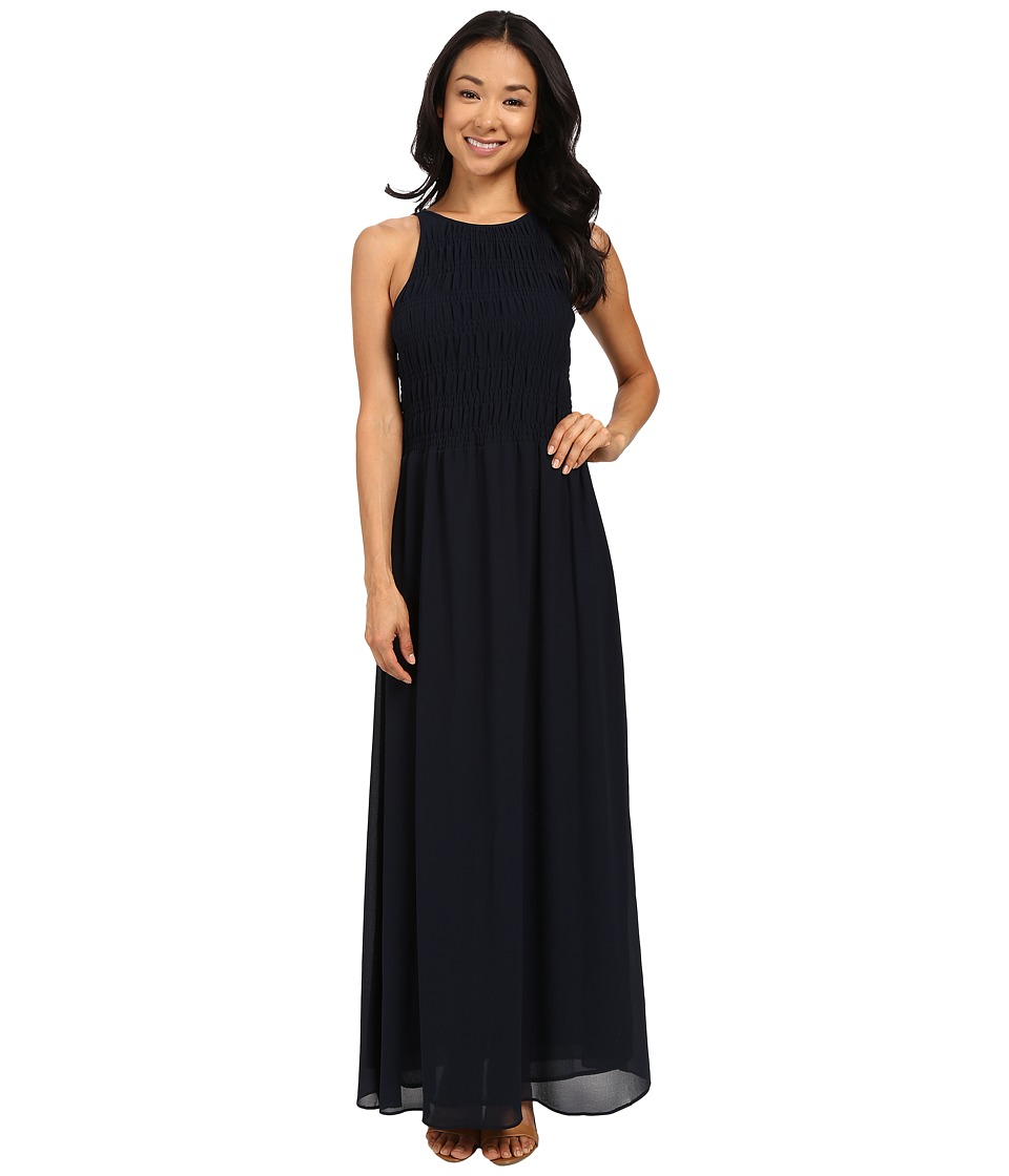 MICHAEL Michael Kors - Smock Halter Maxi Dress (New Navy) Women's Dress