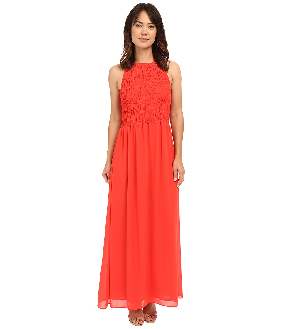MICHAEL Michael Kors - Smock Halter Maxi Dress (Coral Reef) Women's Dress