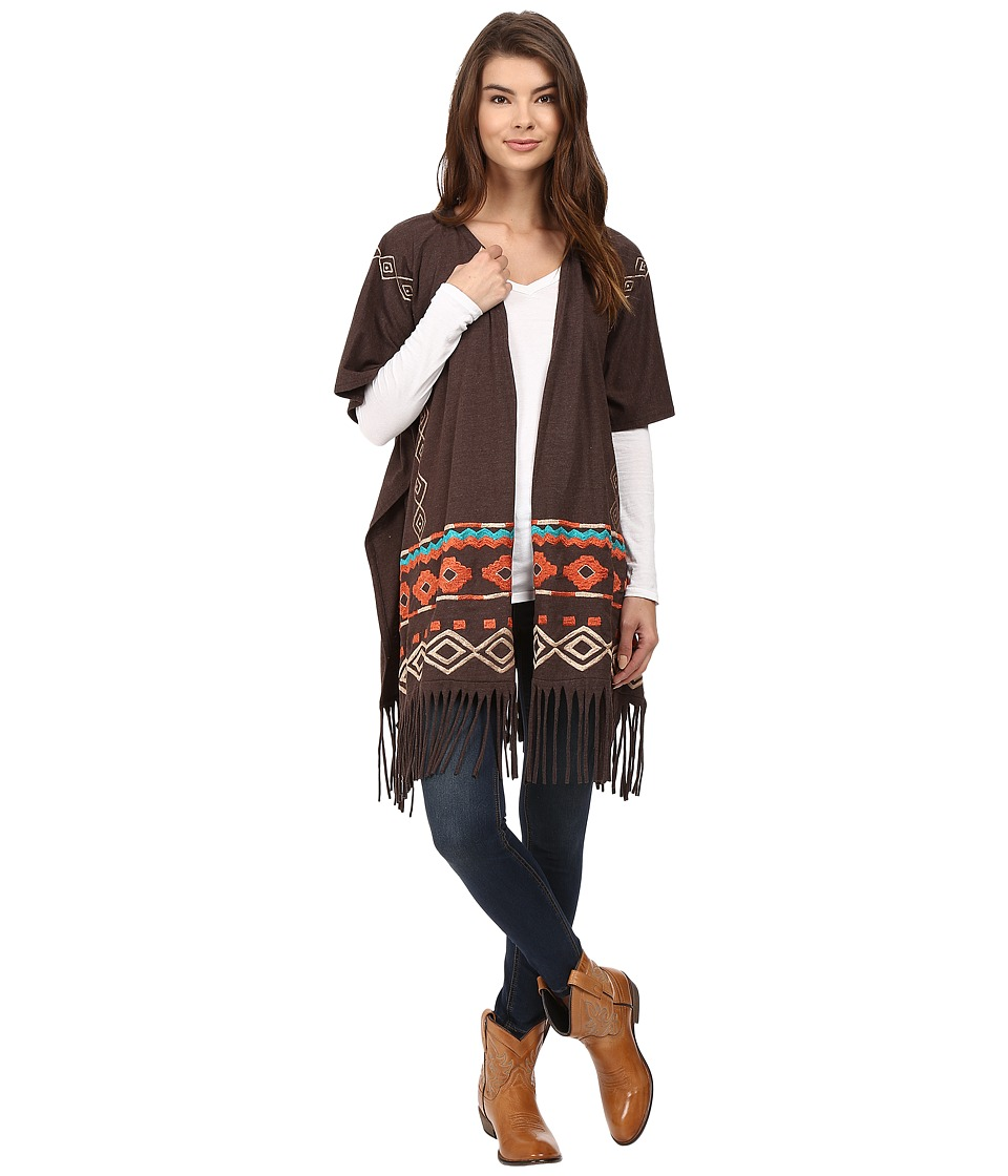 Scully - Embroidered Wrap (Heather Brown) Women's Clothing