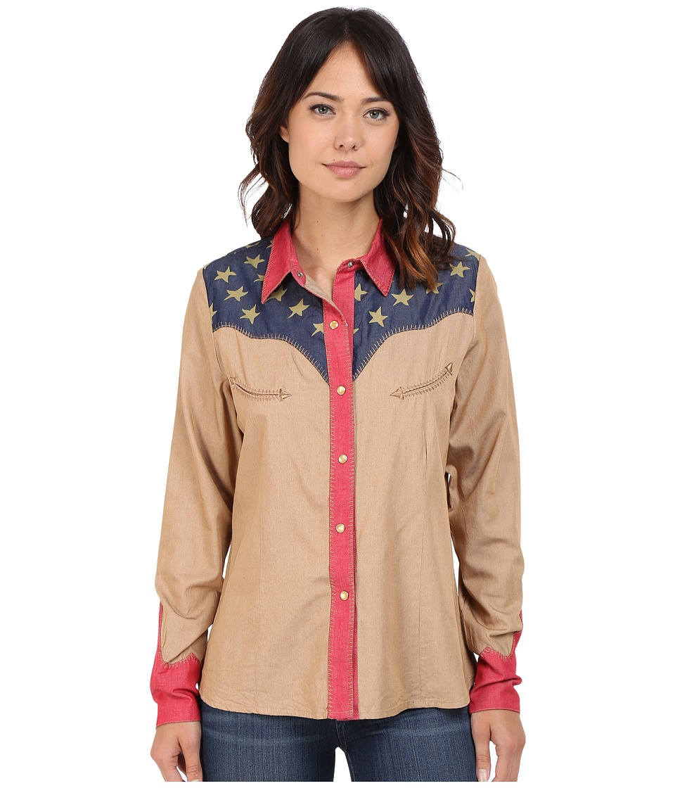 Scully - Faded Glory Shirt (Tan) Women's Long Sleeve Button Up