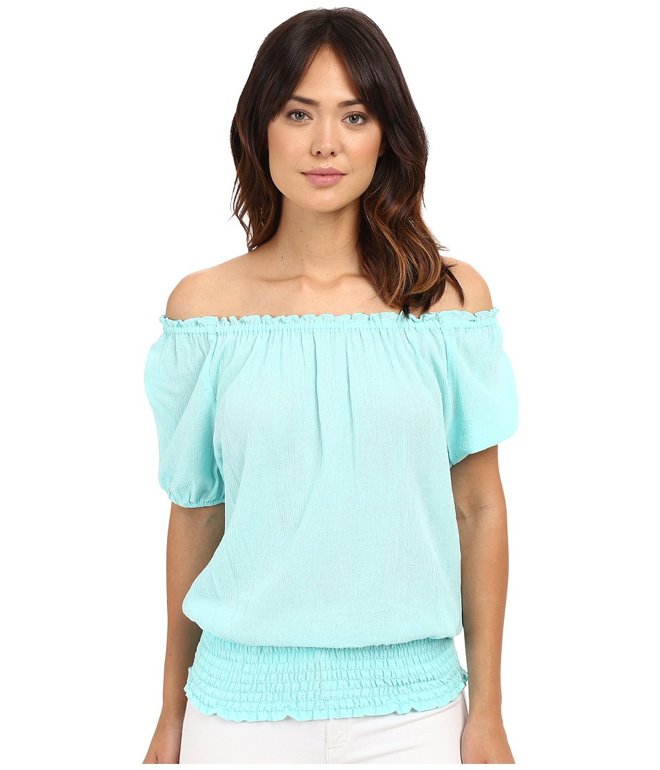 MICHAEL Michael Kors - Off Shoulder Top (Washed Turquoise) Women's Blouse