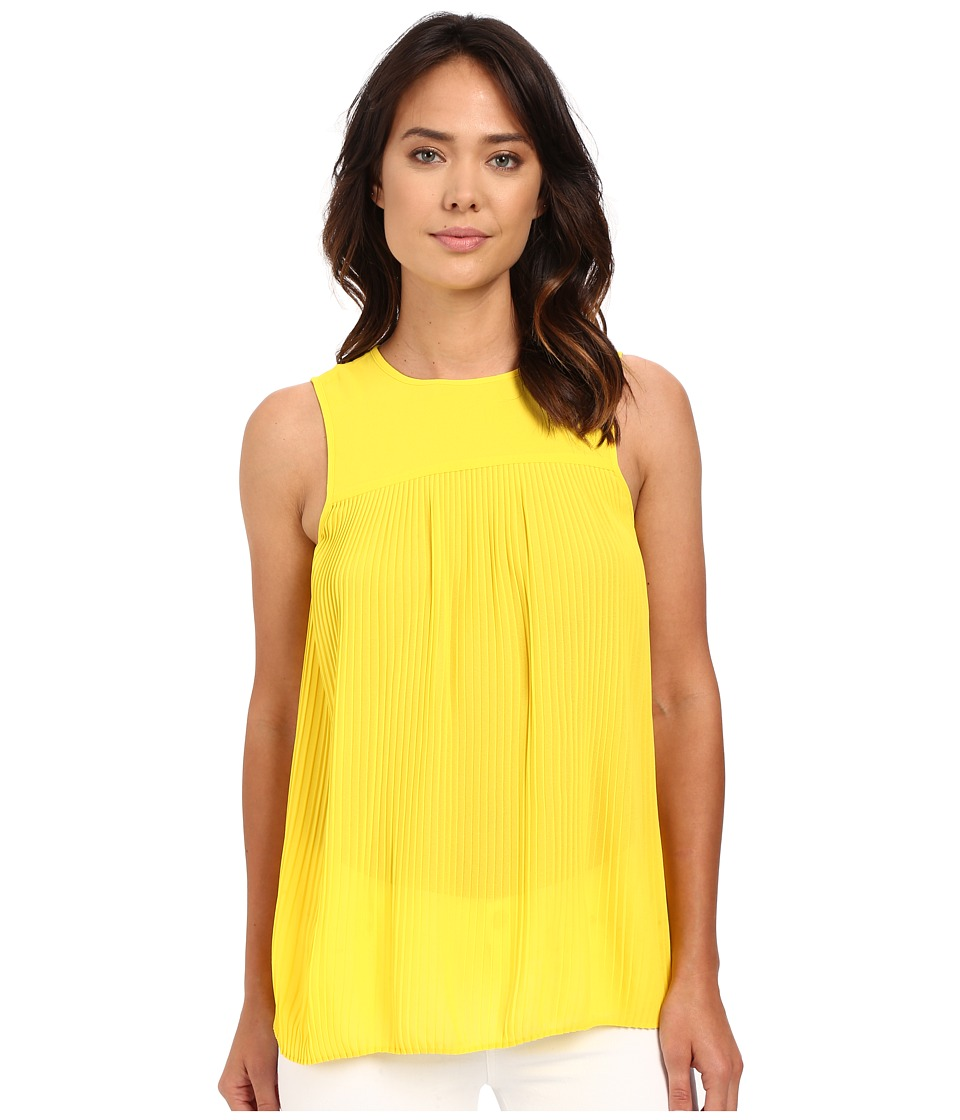 MICHAEL Michael Kors - Solid Pleated Top (Citrus) Women's Clothing