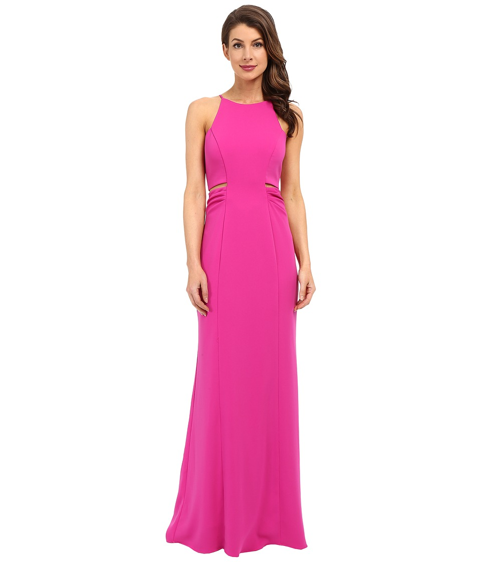 Badgley Mischka - Cut Out Stretch Crepe Gown (Magenta) Women's Dress