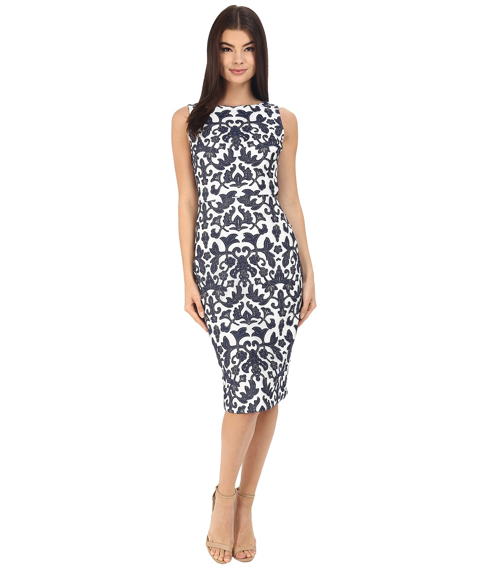 Badgley Mischka - Embroidered Mesh Sheath (Navy/White) Women's Dress