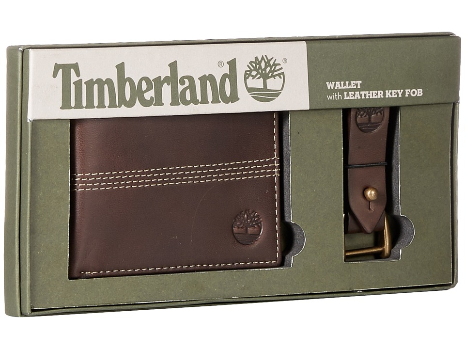Timberland - Slimfold Wallet with Key Fob Gift Set (Brown) Wallet