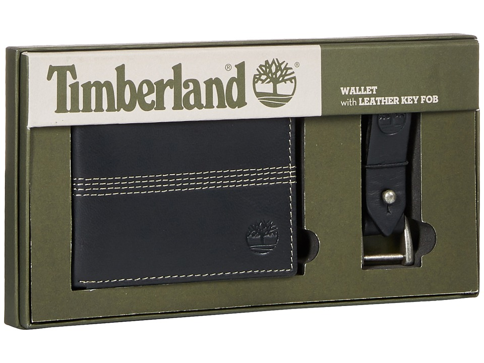 Timberland - Slimfold Wallet with Key Fob Gift Set (Black) Wallet