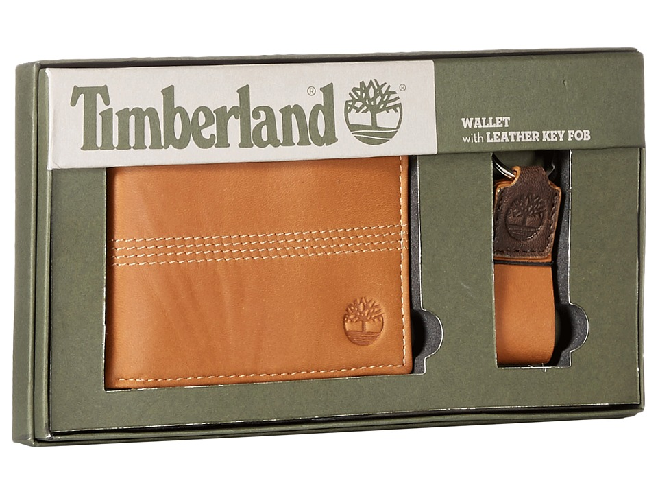 Timberland - Slimfold Wallet with Key Fob Gift Set (Tan) Wallet
