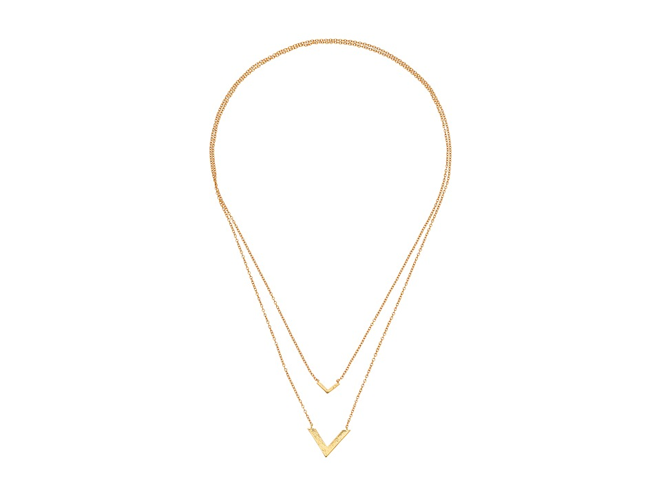 gorjana - Knox V Double Pendant Necklace (Gold) Necklace