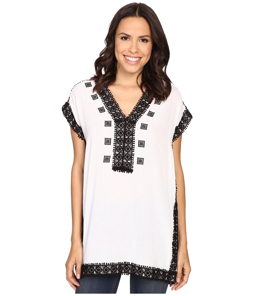 MICHAEL Michael Kors - Crochet Trim Tunic (Black) Women's Clothing