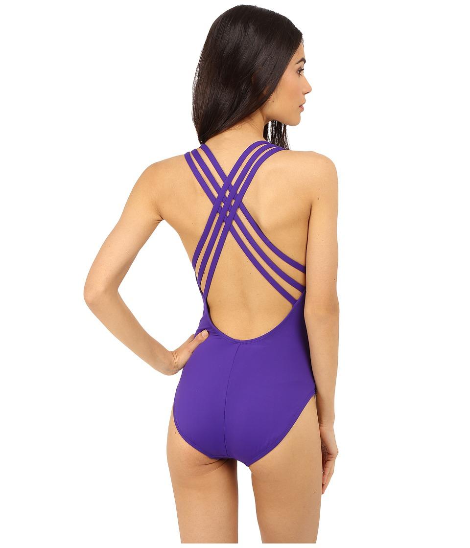 La Blanca - Island Goddess Multi Strap Cross-Back Mio One-Piece (Grape) Women's Swimsuits One Piece
