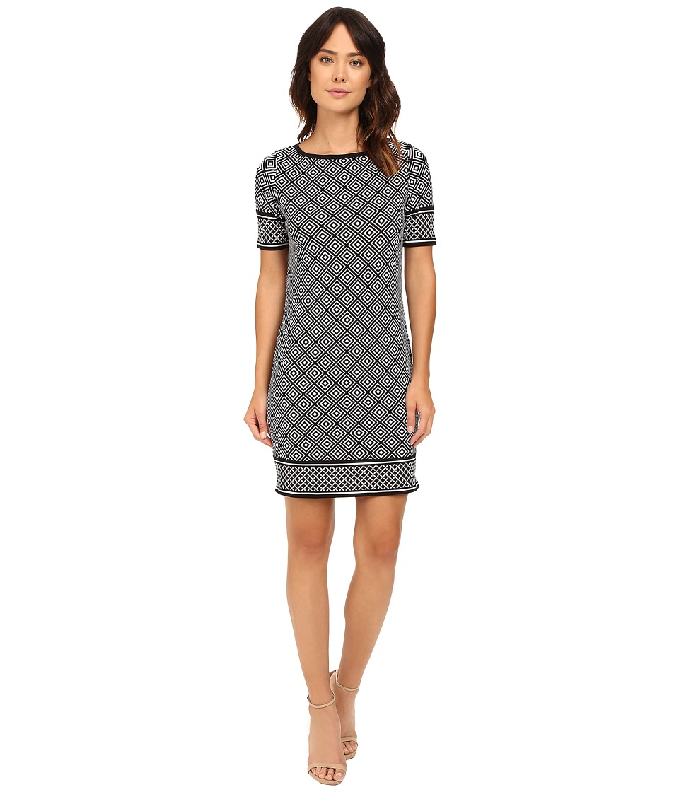 MICHAEL Michael Kors - Loflin Border Short Sleeve Dress (Black) Women's Dress