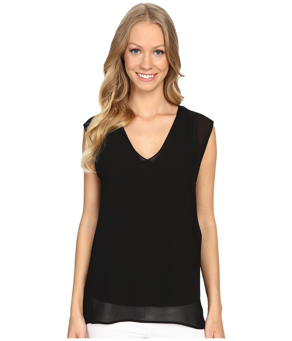 MICHAEL Michael Kors - Tank with V-Neck Rib (Black) Women's Sleeveless