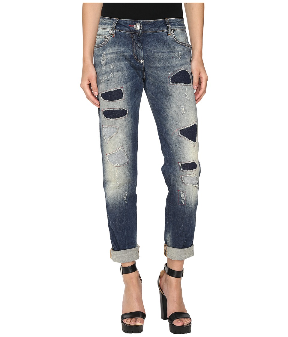 Philipp Plein - Light Wash Boyfriend Cut Distressed Denim in Light Blue (Light Blue) Women's Jeans