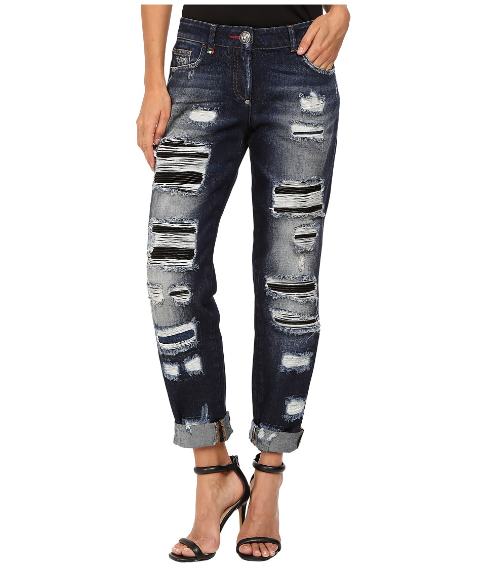 Philipp Plein - Dark Wash Boyfriend Cut Distressed Denim in Dark Blue (Dark Blue) Women's Jeans