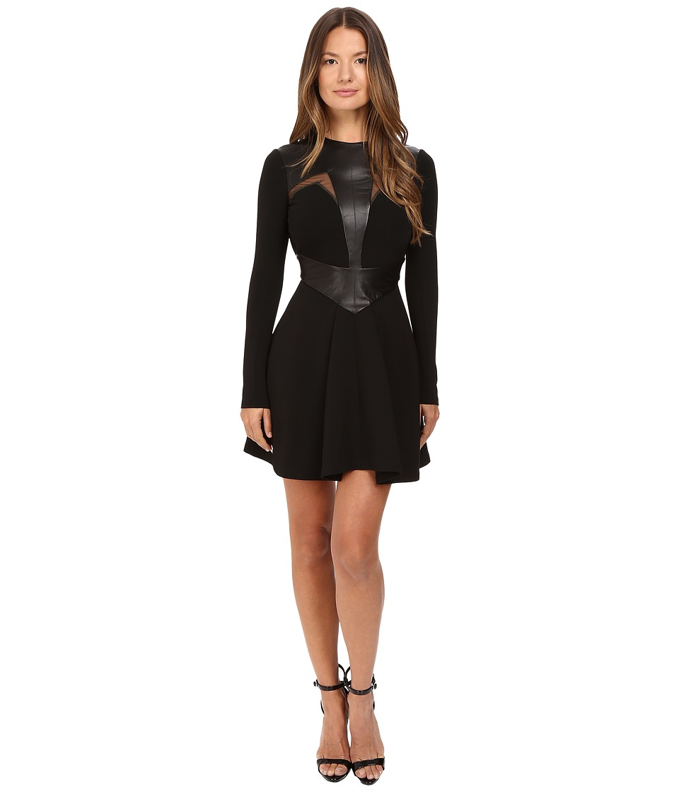 Philipp Plein - Leather Insetted Long Sleeve Dress (Black) Women's Dress