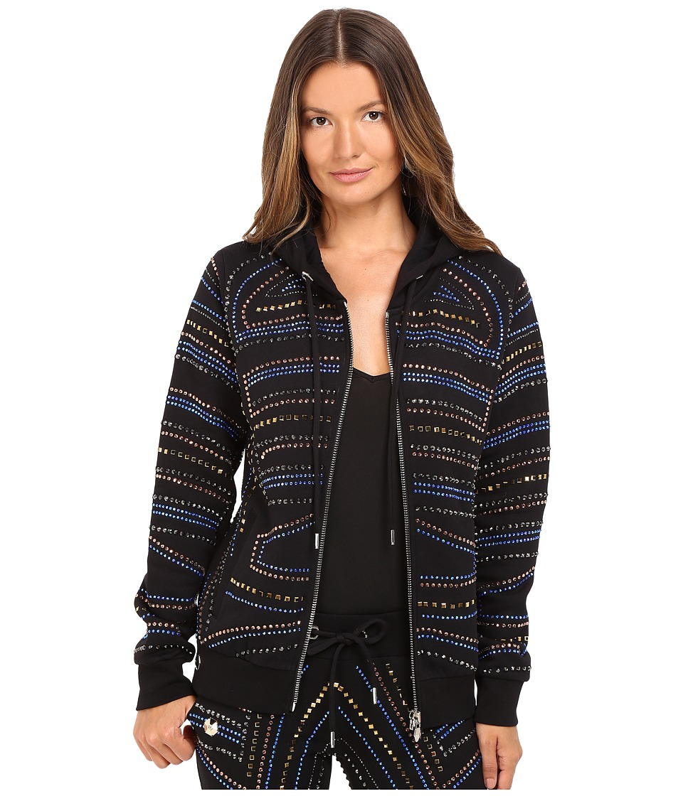 Philipp Plein - Embellished Zip-Up Hoodie (Black) Women's Sweatshirt